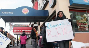 Burger King workers striking at 971 Flatbush Ave in Brooklyn.