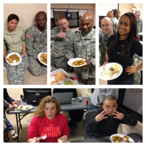 The soldiers of the 444th HRC enjoy a family style dinner after a successful completion of their AT.