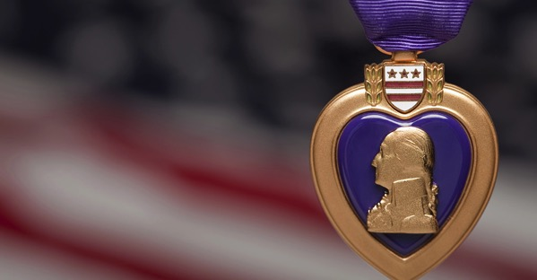 Purple heart american flag background